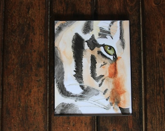 Watercolor Tiger/Painting/8x10/Art Print/Wall Decor/Frame/Handmade/Handpainted/Animal/Nursery