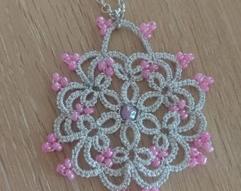 Silver tatted necklace with pink glass beads