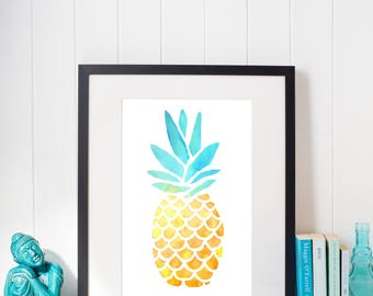 Watercolor Pineapple Print