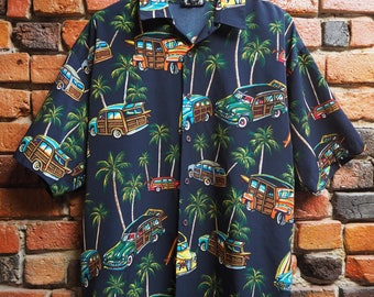 Men's 90s Navy Blue Hawaiian Palm Tree And Car Print Short Sleeve Shirt Size Large