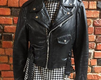 Vintage Leather Crop Jacket Coat Small Motorcycle Biker 1345