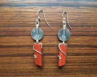 Modern Red Jasper Juniper Earrings, Statement Earrings, Red Jasper Dangle Earrings, Gifts for Mom, Gifts for Her, Elegant Earrings