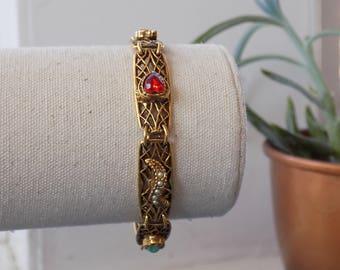Vintage Signed Goldette Bracelet- Gold Tone-Victorian-1960's
