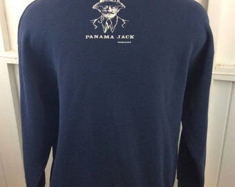 Vintage Panama Jack Double Sided Crewneck Sweatshirt Blue XL Made in USA