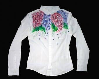 White cotton shirt, White blouse, White cotton blouse, Cotton blouse, White shirt, Cotton shirt, White top, Floral blouse, Flower blouse