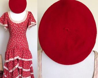 FLAMENCO SET   Oui Oui Hat   1930s Vintage Fezco-Basque Red Wool Beret Hat   One Size
