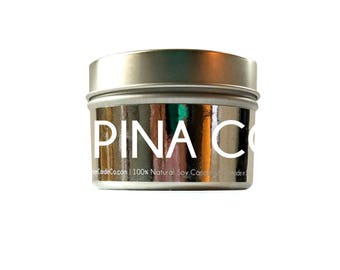 PINA COLADA Candle - Liquor Candle - Soy Candle - Wax Melts - Tealights - Scented Candle - Silver Candle - Luxury Candle - 4oz - 8oz