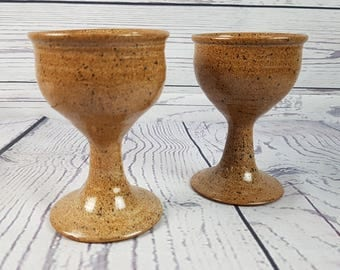 Vintage Set of 2 Stoneware Goblets Wine Water  Pottery Glasses Bar Barware Boho Hippie Bohemian Wedding 70s Tiki Island Decor