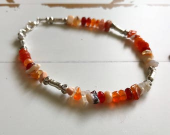 Mexican Fire Opal Bracelet~ Healing Energy Bracelet~Handmade Artisan Jewelry~ Raw and Gemmy Fire Opals~ Gift ideas