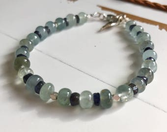 Smooth Moss Aquamarine and Iolite Bracelet~ Beaded Gemstone Bracelet~ March Birthstone~ 19th Anniversary Gift