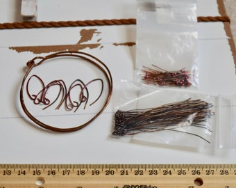 DESTASH Copper Findings~ Copper Bangle Bracelet~ Copper Earwires~ Copper Headpins~ Jewelry Kit Copper