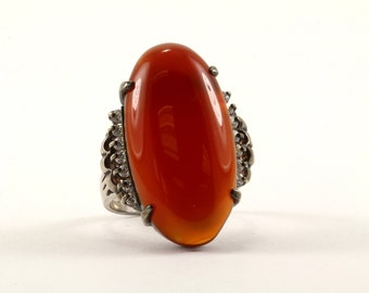Vintage Oval Carnelian Stone Ring 925 Sterling Silver RG 91-E