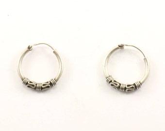 Vintage Bali Design Huggies Earrings 925 Sterling Silver ER 887