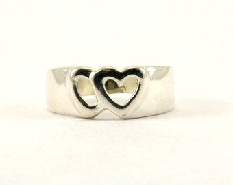 Vintage Two Heart Design Band Ring 925 Sterling Silver RG 3533