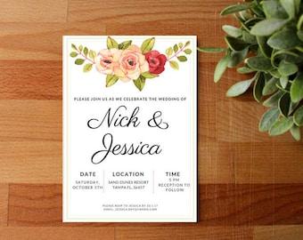 Floral Wedding Invitation, Rustic Wedding, Digital or Printed, Greenery, Flower Crown, Cutomize, Flower