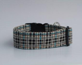"""Winter Walk Flannel Plaid """"Stream"""" Dog Collar"""