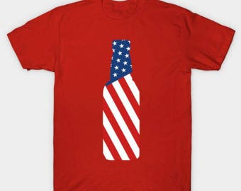 United States Flag Beer Bottle USA Flag T-Shirt