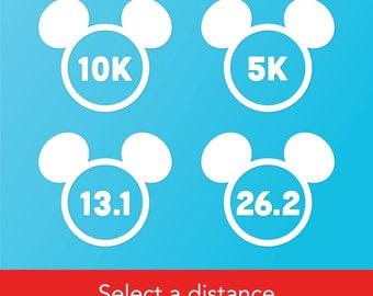 Run Disney Vinyl Car Window Decal – 5K, 10K, 13.1 Mile, 26.2 Mile