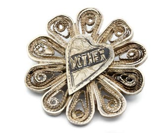 Filigree Mother Brooch, Antique 1930s Jewelry, Gift For Mom, 925 Sterling Silver Pin, Flower Heart Brooch, Monogram Brooch, Edwardian Pin