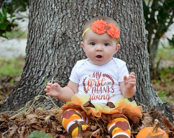 My First Thanksgiving Baby Girl  | Thanksgiving Outfit | Fall Outfit | Turkey Day | November Baby | Take Home Outfit