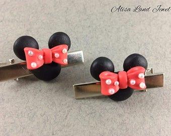 Minnie mouse hair clip, Cartoon hair clip, Polymer clay jewelry, Black pink hair clip, Girls hair clip, Gift for her, Charm hair clip