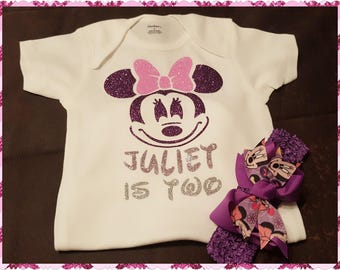 Minnie Mouse, Birthday Onesie or Tee With Custom Matching Bow - Any Age (6 Months and Up)