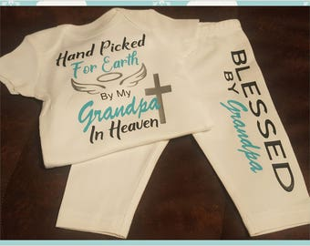 Hand Picked For Earth, Grandpa, Onesie and Pants Set - Can Customize for Girl or Boy - Super Super Sweet!