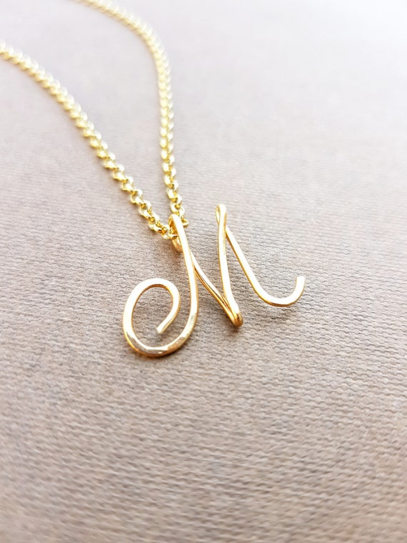 Cursive Gold Letter Alphabet Initial M Necklace