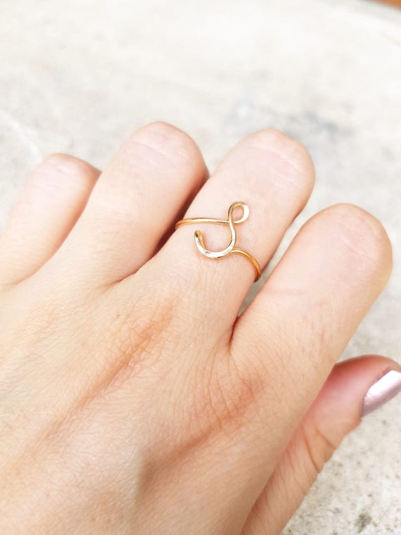 22k Rose Gold Initial ring letter S ring wire initial ring