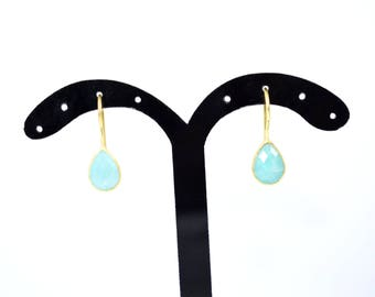 amazonite earring ,light green color earring,amazonite jewelry ,tiny earring ,bezel jewelry ,gold plating earring,light weight  earring,