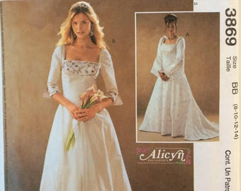 McCall's sewing pattern 3869 - wedding evening formal dress  - size BB 8-14