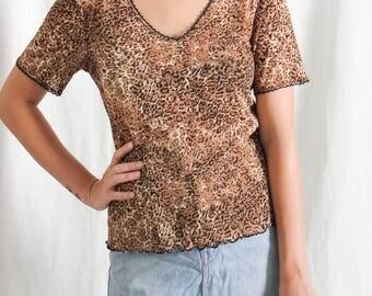vintage 90's y2k leopard print mesh t-shirt