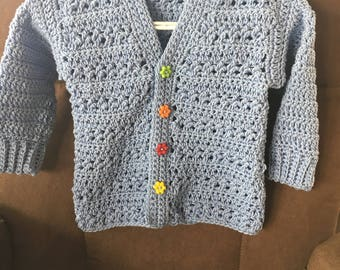Boys crocheted sweater- cotton