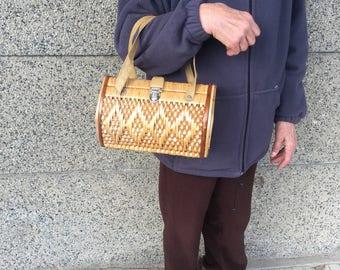 Vintage Wicker Bag, Vintage Style, Handbag, Sholders Bag, Top Handle Bag, Vintage Knitted Bag, Handmade Bag, Old Wicker Bag, Retro Bag