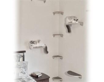 8pc Floating Corner Cat Tree   Lunar Collection Modern Cat Furniture, Cat  Shelves, Cat