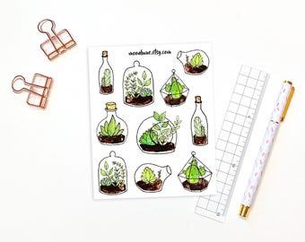 Terrarium stickers - 10 decorative succulent terrarium stickers, planner stickers, bullet journal stickers, bujo stickers, nature stickers