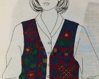 Dreamspinners VIP Flower Patch Vest; Fabric Panel; Plus Sizes 1X, 2X, 3X