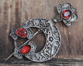 Antique Fabric Fibula Silver Pin