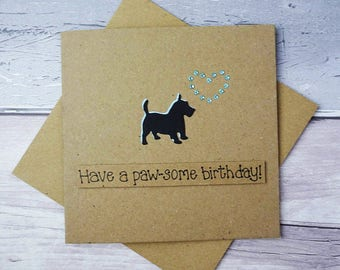 Terrier birthday card, Scottie Dog birthday card, West Highland Terrier card, Scottish Terrier, Aberdeen Terrier, Handmade dog birthday card