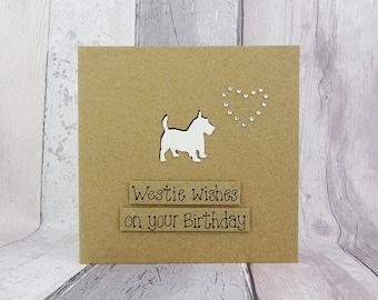 Scotty Dog birthday Card, West Highland Terrier card, Handmade dog birthday card, Westie funny birthday card, Best wishes card