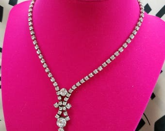 Classic Clear Rhinestone Necklace with Hook Closure