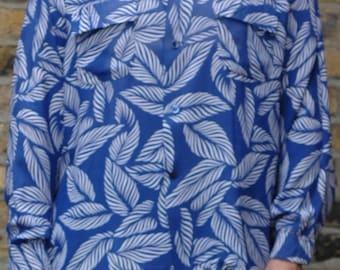 1940s rayon long sleeve Hawaiian shirt