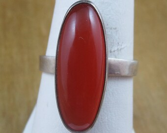 Vintage Orange Chalcedony Ring Sterling Silver 925 Size 8.5 4.9 Grams