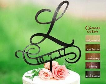 Letter l cake topper, wedding cake topper, cake toppers for wedding, letter wedding cake topper, initial cake topper, cake topper l,  CT#210