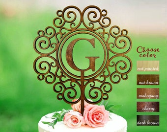 Wedding cake topper, letter g cake topper, cake toppers for wedding, rustic cake topper, monogram cake topper g, wreath cake topper, CT#250