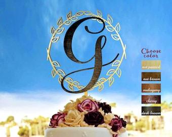 Wedding cake topper, letter g cake topper, wreath cake topper, monogram cake topper, letter cake topper wedding, cake topper g, gold, CT#264