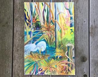 Original Acrylic accented Watercolor // Egrets