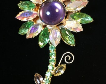 Purple Cabochon Brooch with Iridescent Lt Green and Clear Crystal/Rhinestone Flower Petals