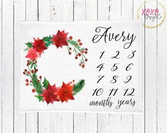 Holiday Milestone Baby Blanket / Holiday Baby Blankets / Christmas Baby Blanket Personalized / Personalized Blanket / Christmas Baby Shower
