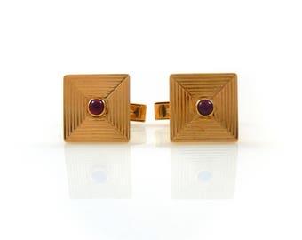 Tiffany & Co. 14K Cuff Links with Ruby Cabochon - X4457